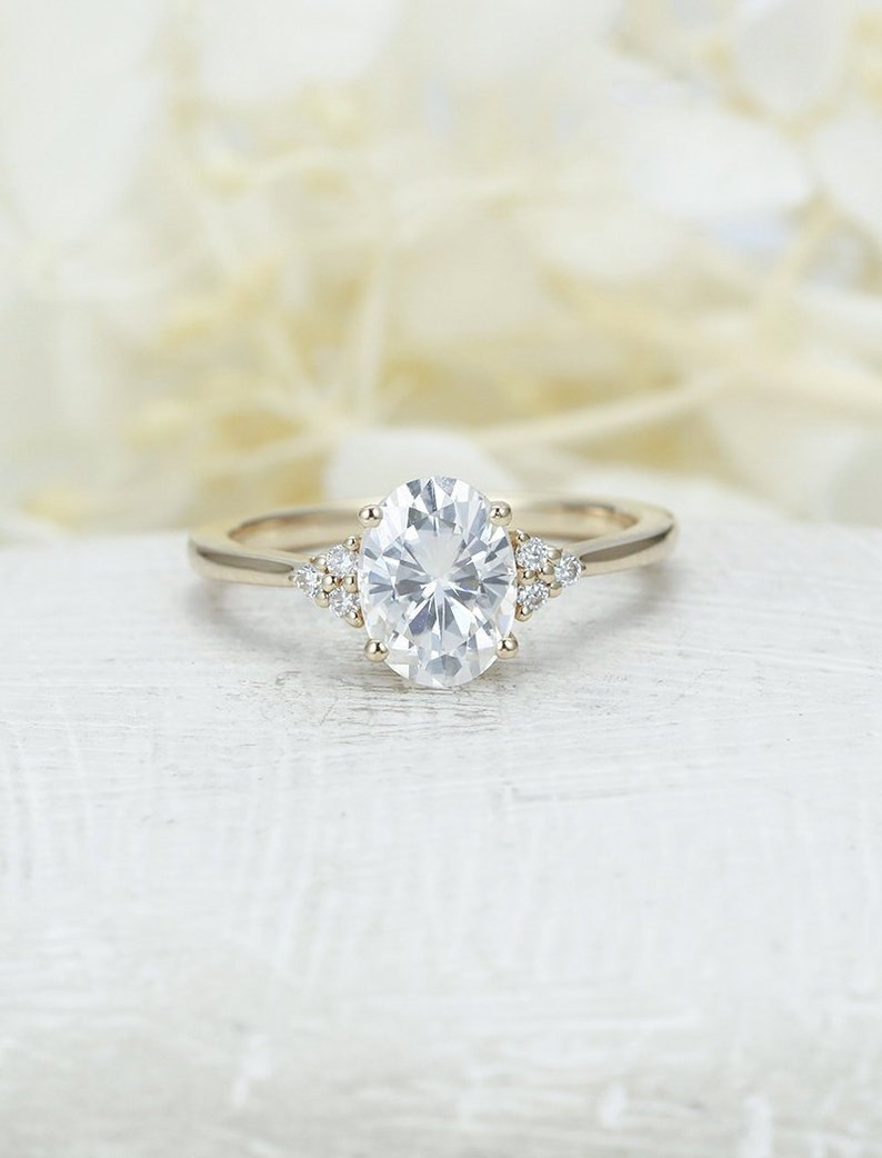 Moissanite engagement ring yellow gold engagement ring vintage Diamond  Cluster ring wedding Bridal Set Jewelry Anniversary gift for women