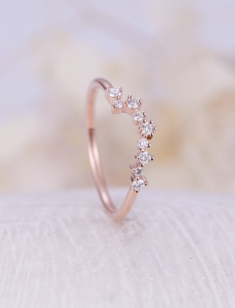 Rose gold wedding band Curved wedding band women Diamond Cluster ring Unique Promise Multi gift Bridal Anniversary custom
