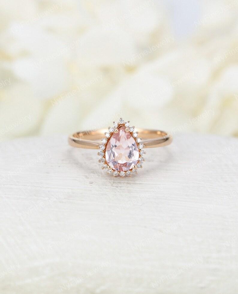 Morganite Engagement Ring Vintage Art Deco Pear Shaped Unique Etsy