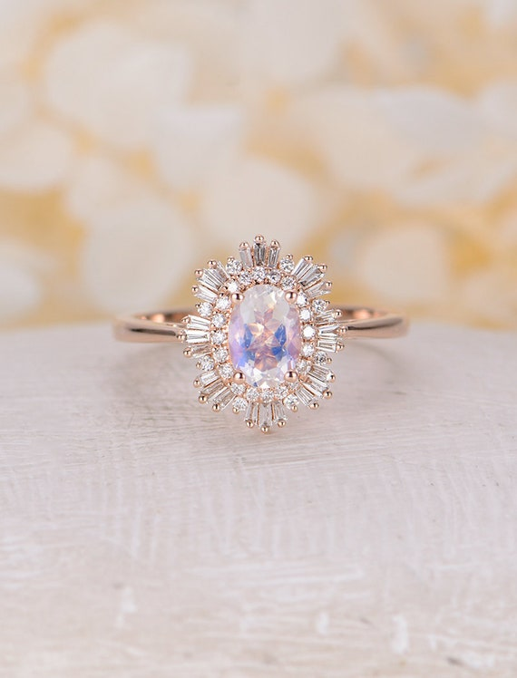 Engagement Ring Moonstone Engagement Ring Woman Rose Gold Etsy