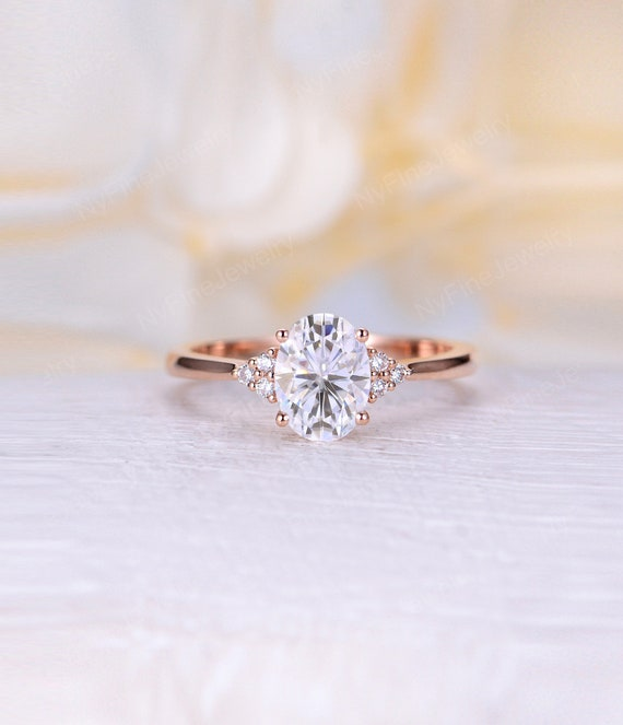 Vintage Moissanite Engagement Ring Rose Gold Engagement Ring Etsy