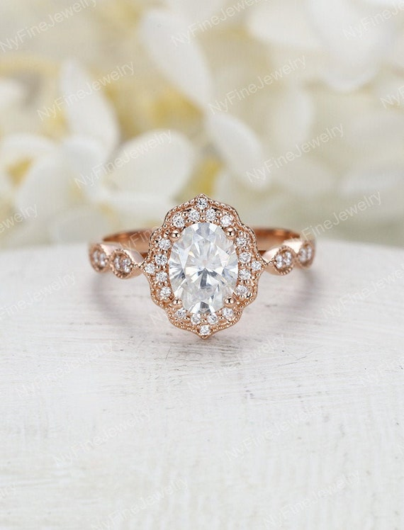Moissanite Engagement Ring Rose Gold Vintage Engagement Ring Etsy
