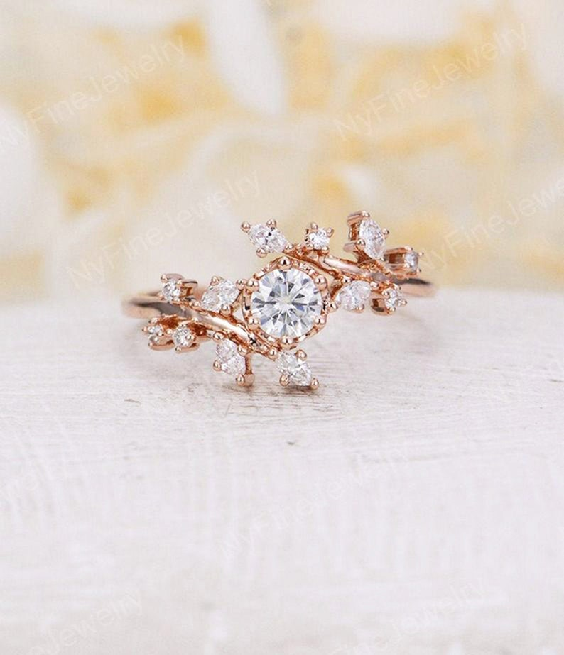 Rose gold engagement ring vintage moissanite engagement ring DEF moissanite
