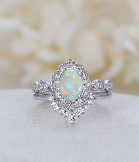 Opal Engagement Ring White Gold Halo Diamond Vintage Oval Cut Etsy