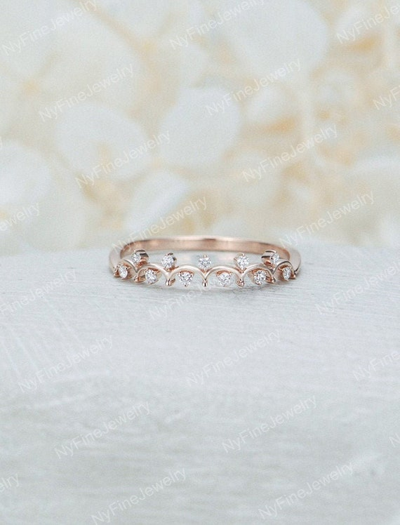 Vintage Wedding Band 14k Rose Gold Woman Diamond Cluster Etsy