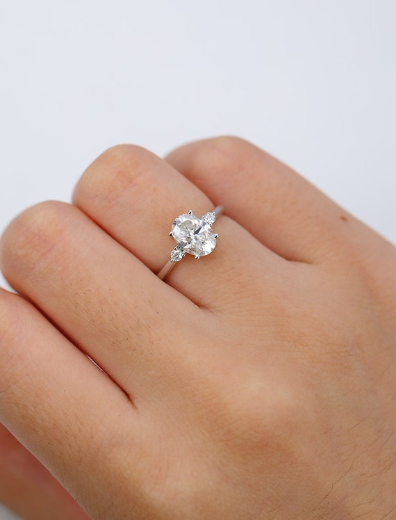 Moissanite Engagement Ring White Gold Oval Cut Engagement Ring Etsy
