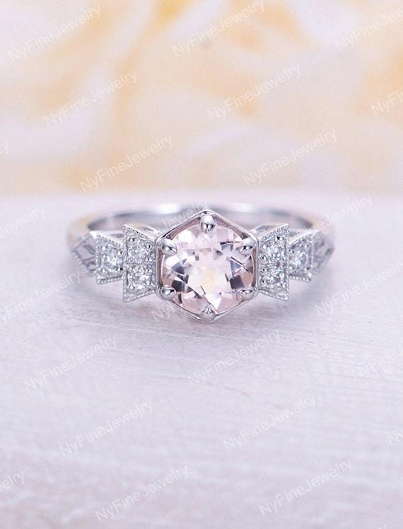 2.50 Ct Morganite Engagement Ring Diamond Wedding Bridal Set 14K White Gold Fn Engagement & Wedding