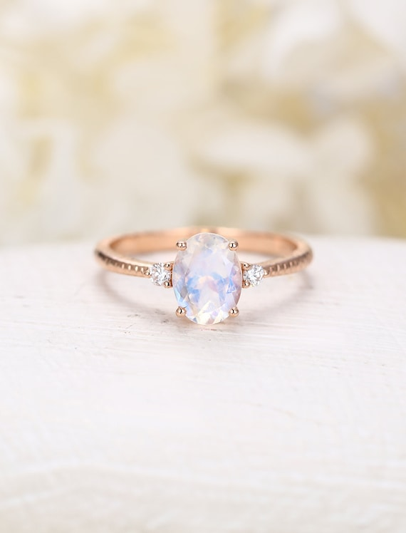 Moonstone Engagement Ring Rose Gold Vintage Engagement Ring Etsy