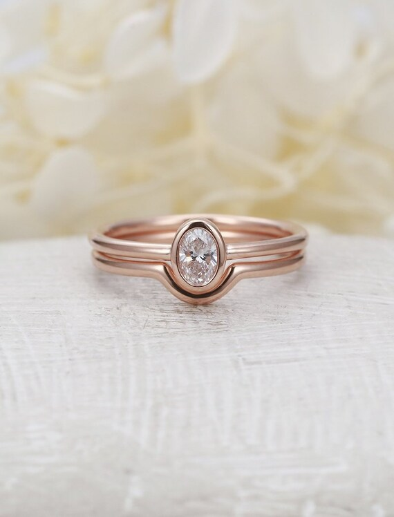 Minimalist Engagement Ring Set Rose Gold Simple Oval Cut Etsy