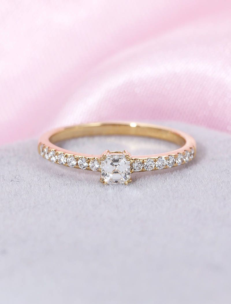Diamond Engagement Ring Vintage solid 14k gold Radiant cut