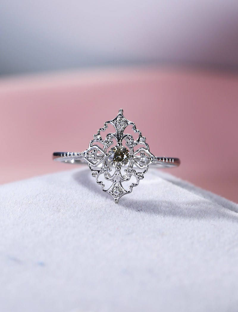 Art deco engagement ring white gold Vintage Yellow Moissanite