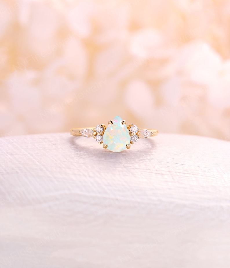 Opal engagement ring natural white pear shaped opal ring image 0