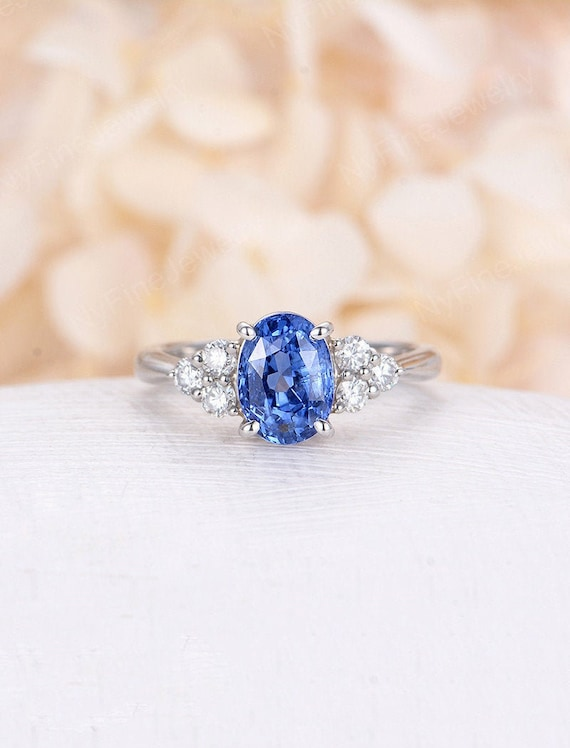 Unique Halo Moissanite Ring Bridal Blue Stone Ring For Her Vintage Ring For Love Vintage Art deco Blue Sapphire Gemstone Engagement Ring