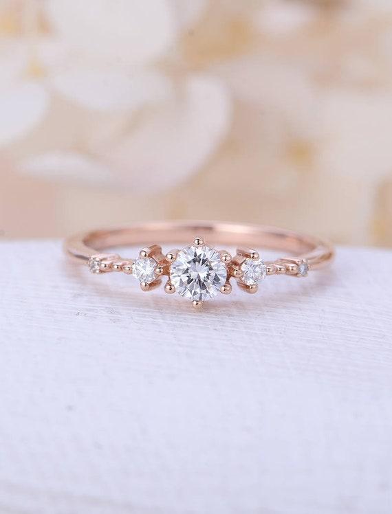 Einzigartige Verlobungsring Rose Gold Moissanite Etsy