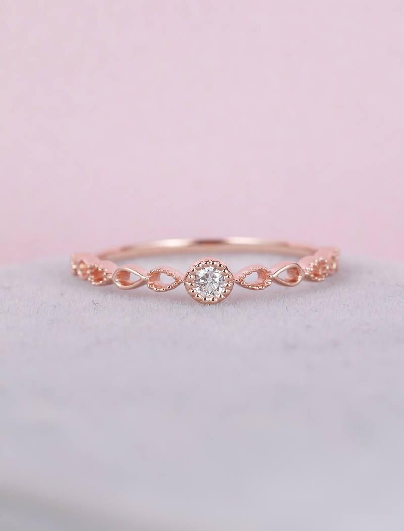 Rose Gold Engagement Ring vintage Art Deco engagement ring | Etsy