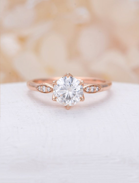 Moissanite Engagement Ring Rose Gold Engagement Ring Vintage Etsy