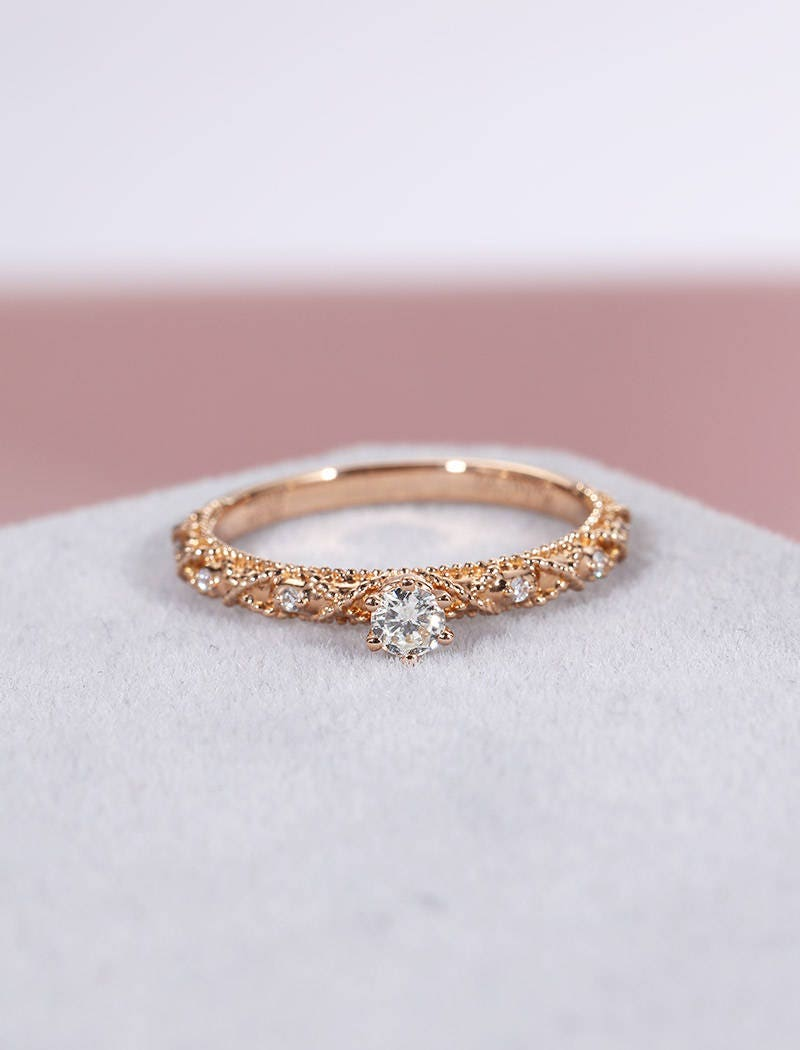 Vintage engagement ring Antique rose gold engagement ring