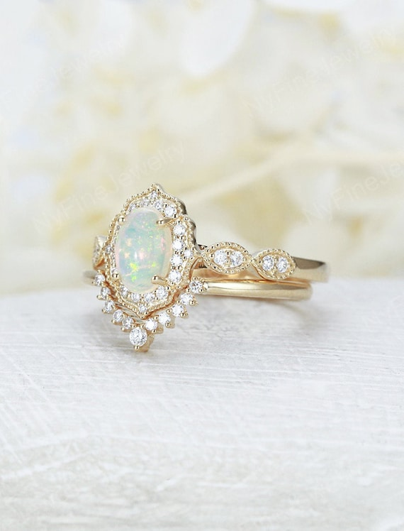 Opal Engagement Ring Yellow Gold Diamond Moissanite Vintage Etsy