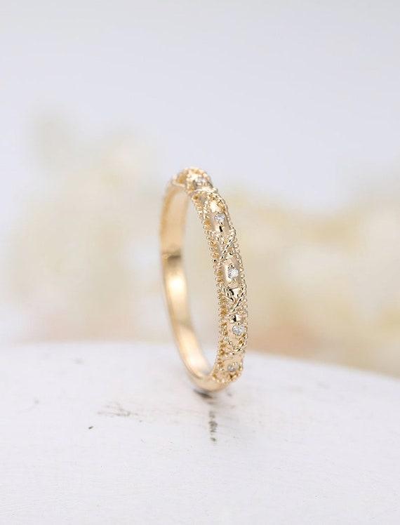 14K White Gold Wedding Bands women,half Eternity Engagement Ring diamond stacking matcinging band,custom made fine jewelry,Art Deco antique