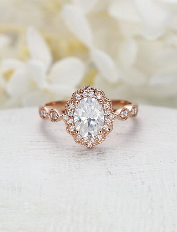 Moissanite engagement ring rose gold Vintage engagement ring women Art deco  Halo diamond Wedding Oval Milgrain Christmas Anniversary gift