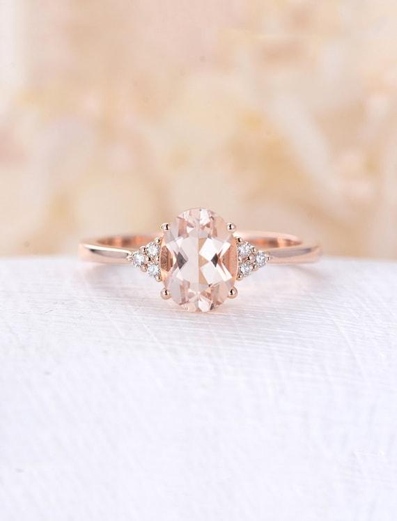 Morganit Verlobungsring Rose Gold Diamant Cluster Ring Etsy