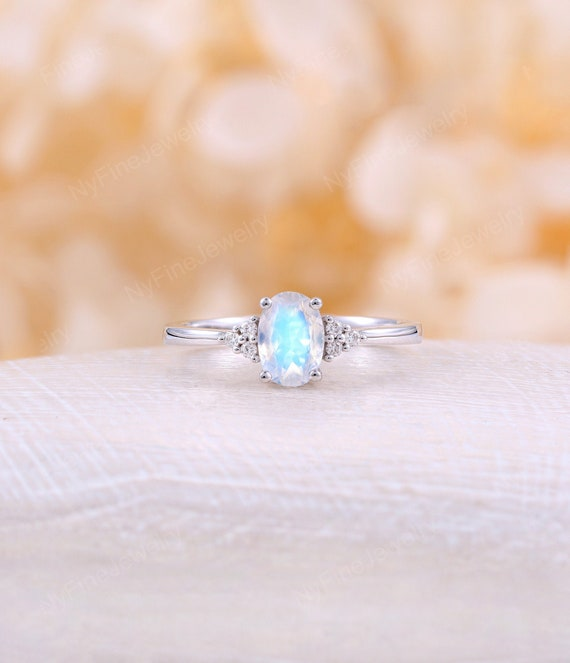 1 Ct Moissanite Engagement Ring White gold Unique Cluster Engagement Ring Thin Dainty Diamond Wedding Women Bridal Anniversary Gift For Her