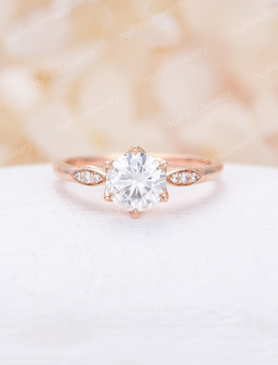 Moissanite Engagement Ring Rose Gold Engagement Ring Solitaire Etsy