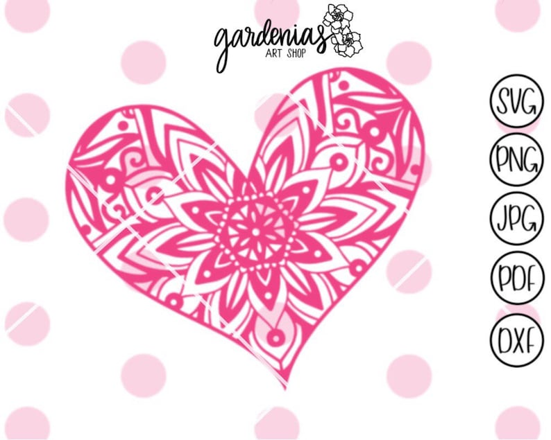 Download Heart Mandala svg Heart svg Mandala svg Love svg Mandalas | Etsy