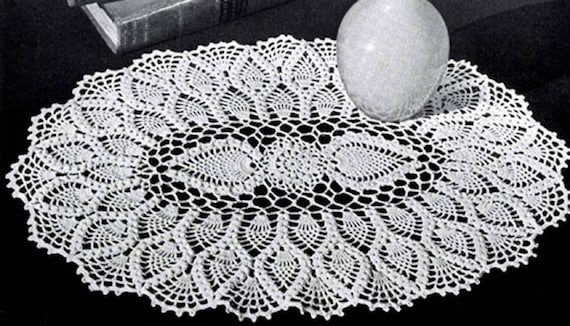 Oval Pineapple Doily Pattern #12-50, Oval Pineapple Crochet Pattern ...