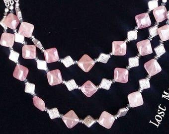 Pink aventurine multistrand necklace