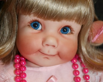 """TOOTSIE ~ Hand Crafted OOAK Porcelain Doll ~ 21"""" Tall Little Girl Playing Dress - Up Created from Lasting Impressions Mold"""