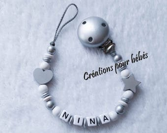 "Attach pacifier girl personalized with wooden beads ""Star/heart"""