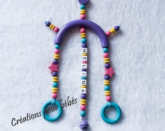 Baby Mobile for basket/cozy/stroller wooden beads