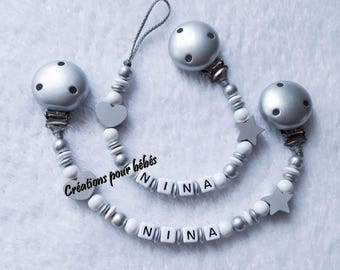 Duo pacifier + tie blanket personalized with wooden beads