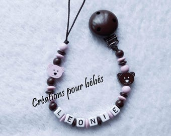 "Attach pacifier girl personalized with wooden beads ""Cubs"""