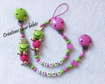 "Duo pacifier clip + binding blanket personalized with wooden beads girl ""Frog"""