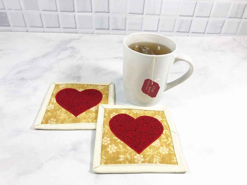 Heart Mug Rugs for Sale  Red Quilted Coasters Set of 2 image 0