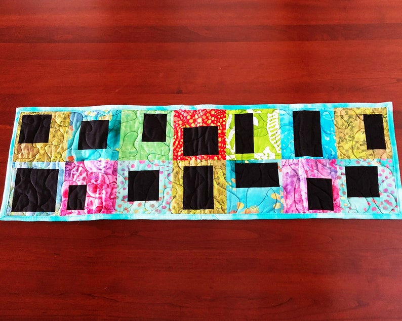 Quilted Table Runner  Batik Cotton Fabric  Hostess Gift  image 0