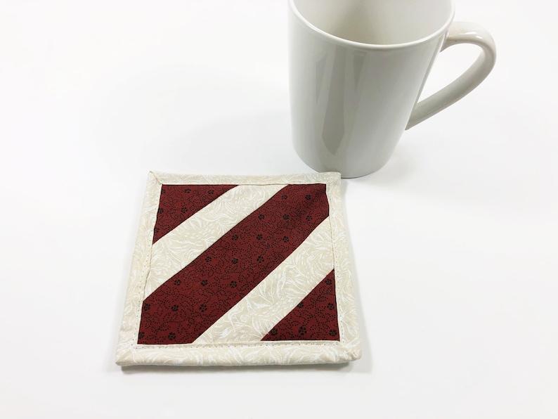 Maroon Mug Rug  Fabric Coaster  Coffee Table Decor  College image 0