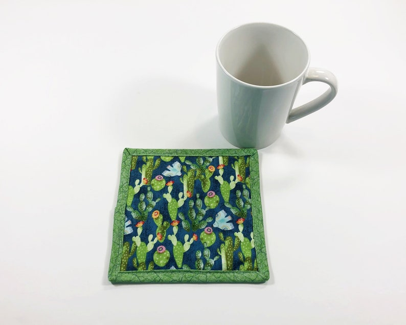 Mug Rug for Sale  Cactus Fabric Coaster  Saguaro Cactus image 0