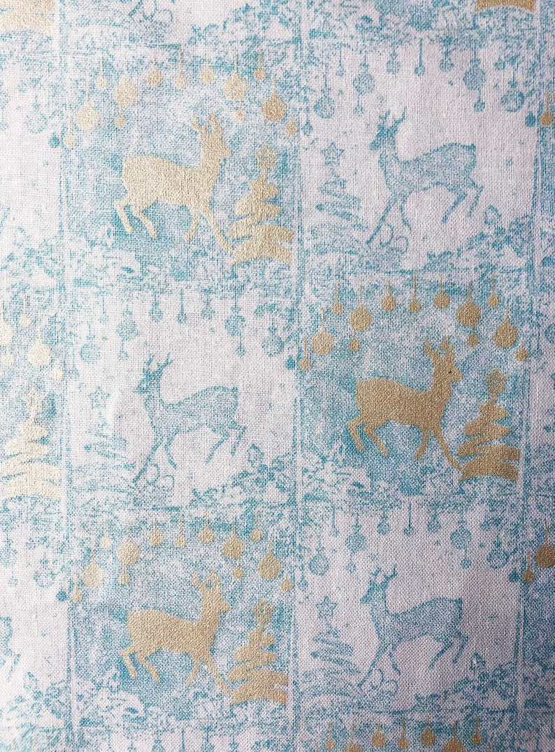 Deer Fabric by the Yard  Nordic Retro Holiday  Christmas image 0