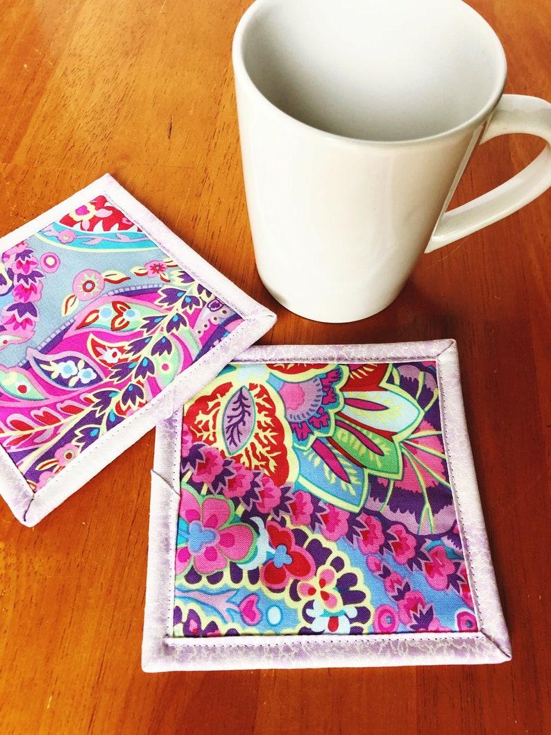 Mug Rugs  Kaffe Fassett Fabric  Paisley Cloth Coasters  Set image 0