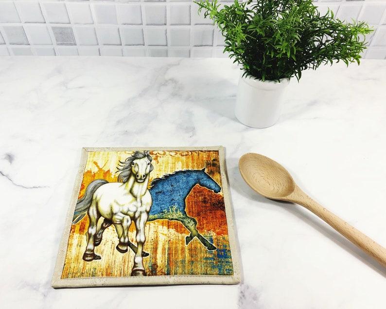 Horse Lover Gift  Equestrian Potholder  Pot Holder  Hot Pad image 0