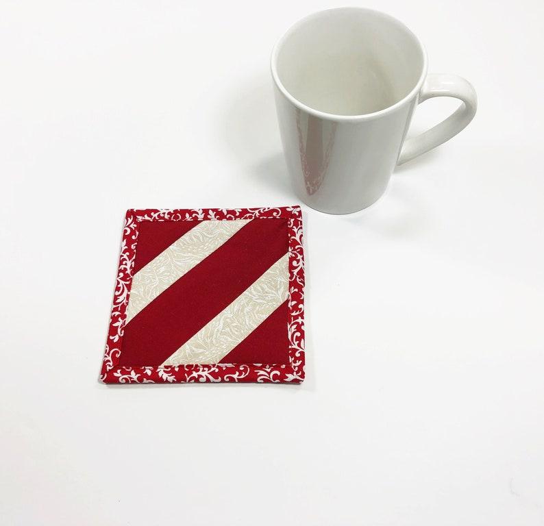 Red Mug Rug  Coaster  College Student Gift  Snack Mat  image 0