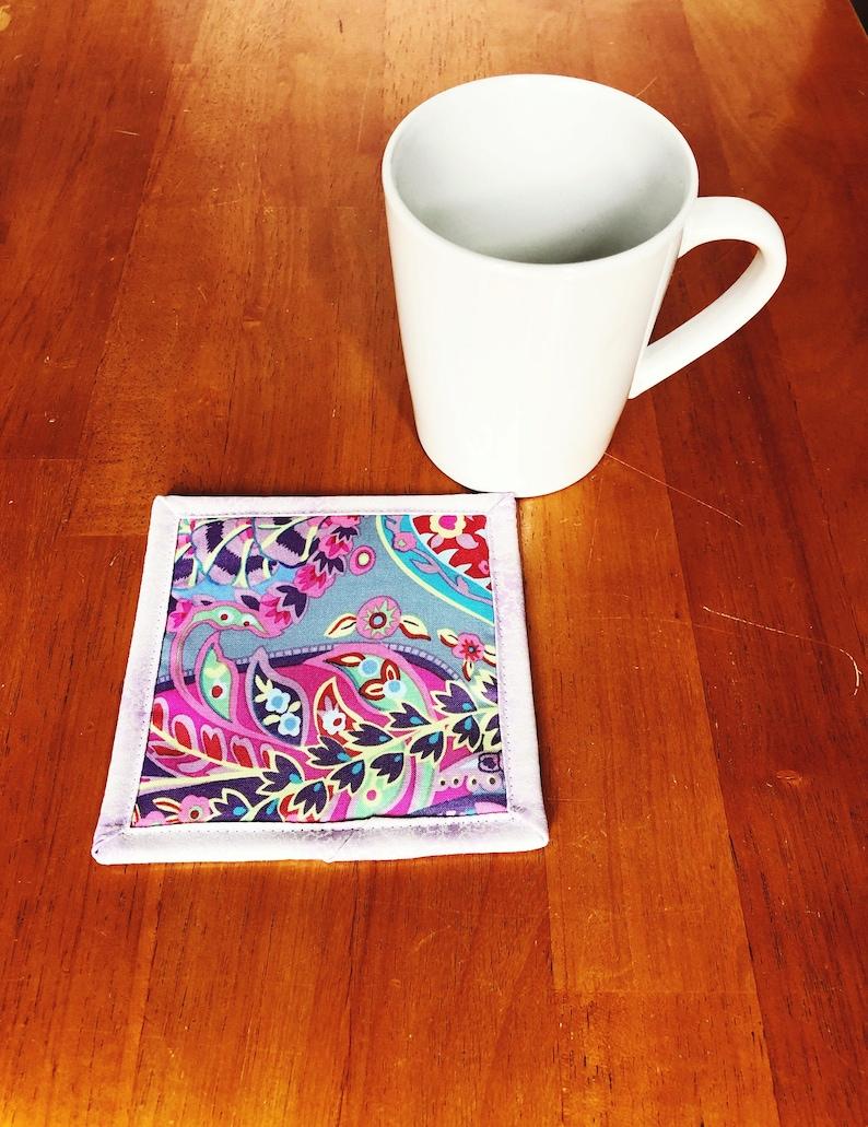 Mug Rug  Kaffe Fassett Fabric  Paisley Cloth Coaster  image 0