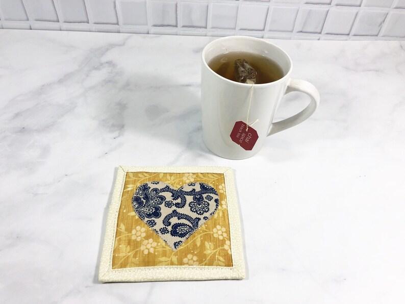 Heart Drink Coaster Mug Rug for Sale Applique Quilt Blue image 0