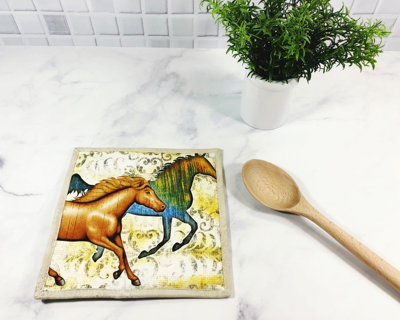 Horse Lover Gift  Equestrian Potholder  Pot Holder  Hot Pad image 0