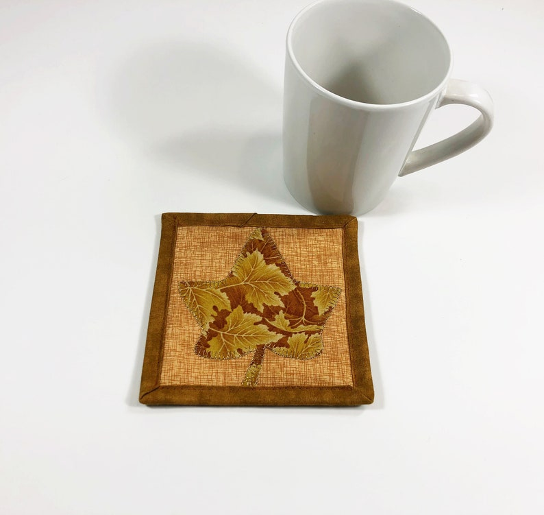 Gold Mug Rug  Maple Leaf Coaster for Drinks  Farmhouse image 0