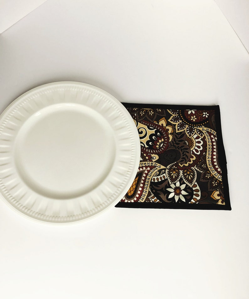Paisley Fabric Pot Holder  Quilted Potholder  Brown Trivet image 0