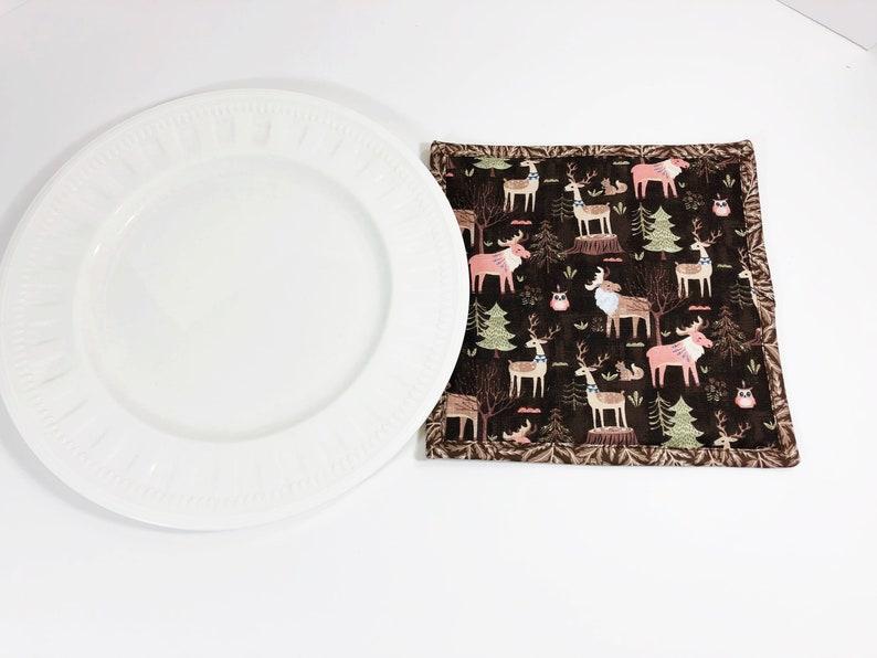 Woodland Animal Fabric Pot Holder  Moose Deer Potholder  image 0